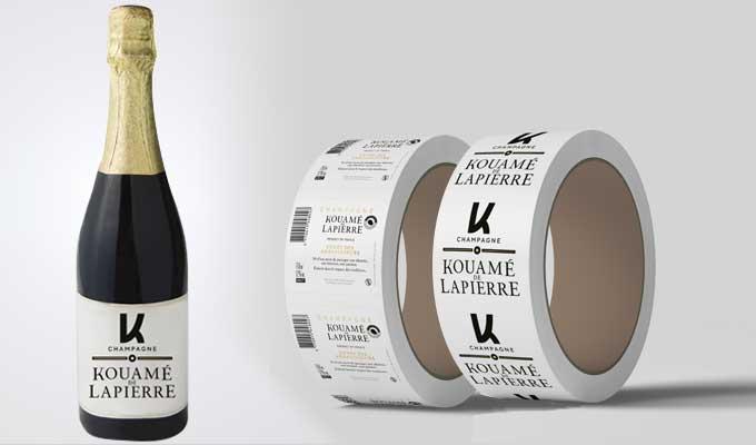 Etiquettes rouleau bouteille champagne et vin