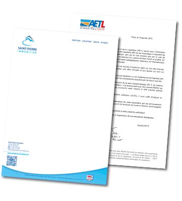 Top Tête de lettre : impression papier à entête personnalisé pas cher DQ26