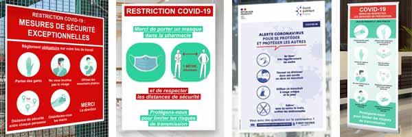 Information signalétique geste barrière sur panneau, bâches PVC et affiches papier